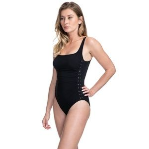 Profile by Gottex Lace-Up Over Shoulder One Piece